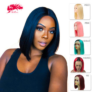 straight bob wigs middle part 180% density brazilian remy hair lace front human hair short wigs