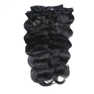 7pcs  clip in body wave hair extensions set virgin remy hair color #1b