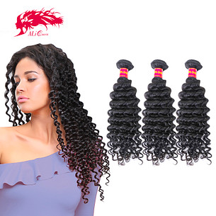 amazing 3pcs brazilian deep wave human virgin hair extension bundle deal
