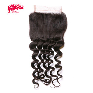 top grade swiss lace natural wave 4*4 lace closure 100% virgin human hair