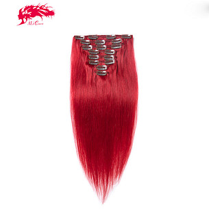 top red clip in brazilian hair extensions 100% remy human hair clip in extensions 7pcs per set virgin hair clips