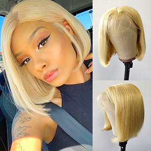 4x4 and 13x4 613 blonde straight bob wig 150 density lace frontal human hair wigs brazilian remy hair