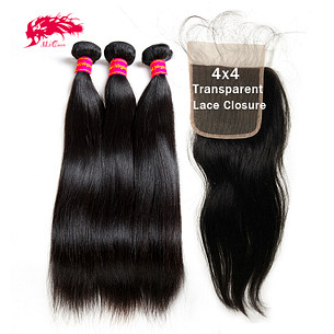 hd transparent lace closure with human hair bundles brazilian straight hair raw virgin hair bundles with closure
