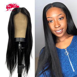 blonde and natural color brazilian straight human hair wigs for black woman t part wig with middle part