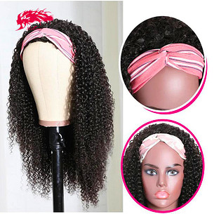 ali queen hair kinky curly human hair glueless wigs natural color headband wig 180 density