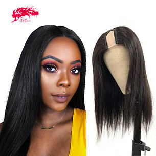 best human hair  glueless straight hair wigs 180 density u part human hair wigs