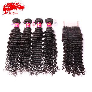 flawless brazilian deep wave 4pcs and one piece deep wave 4*4 lace closure soft human hair