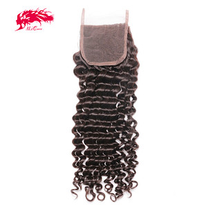 hot sale deep wave 4*4 lace closure remy hair products from china